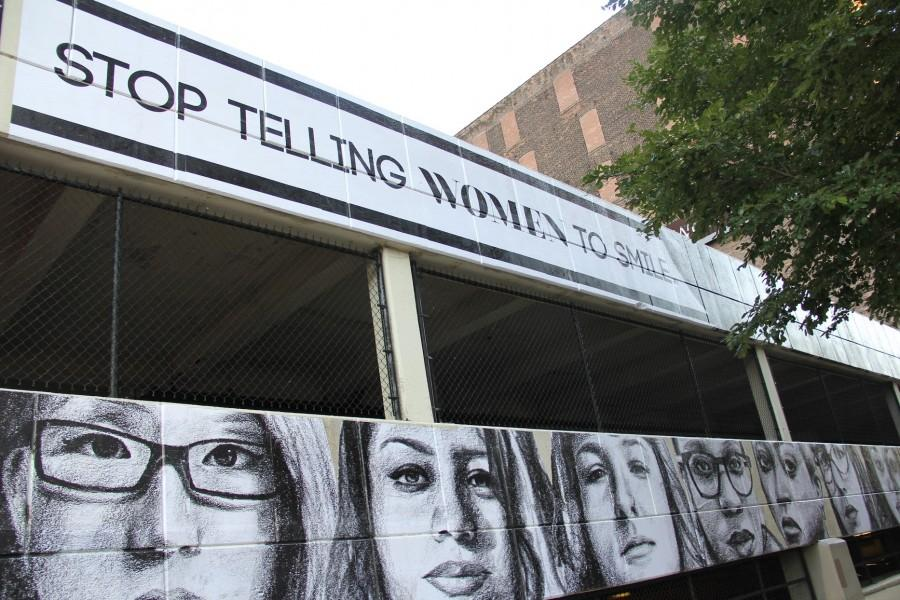 Tatyana Fazlalizadeh's latest work about street harassment, a mural of women's faces and text that reads
