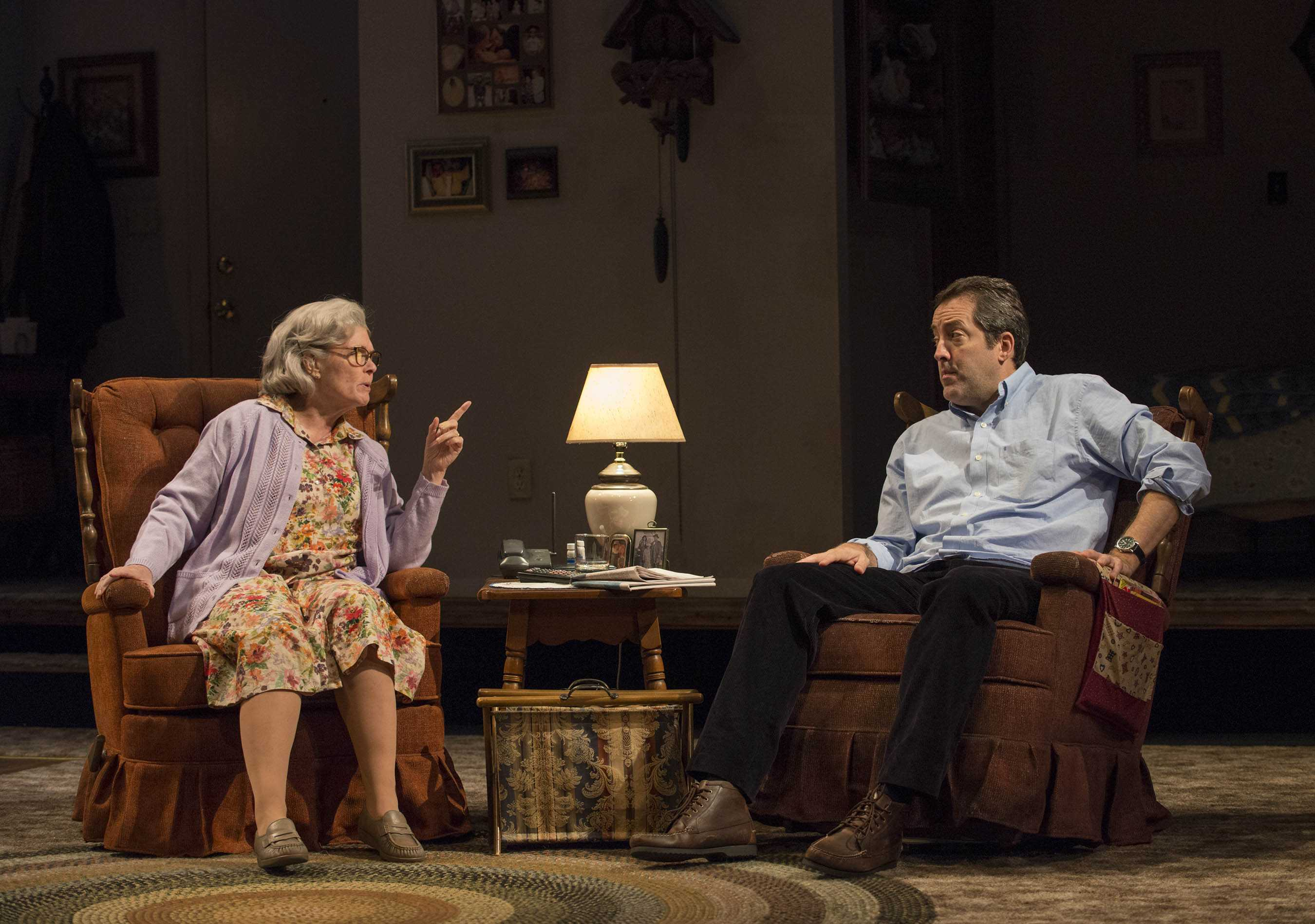 Pictured (left to right) Debra Monk (Edna) and ensemble member Ian Barford (Edna's son Andrew). Photo by Michael Brosilow.