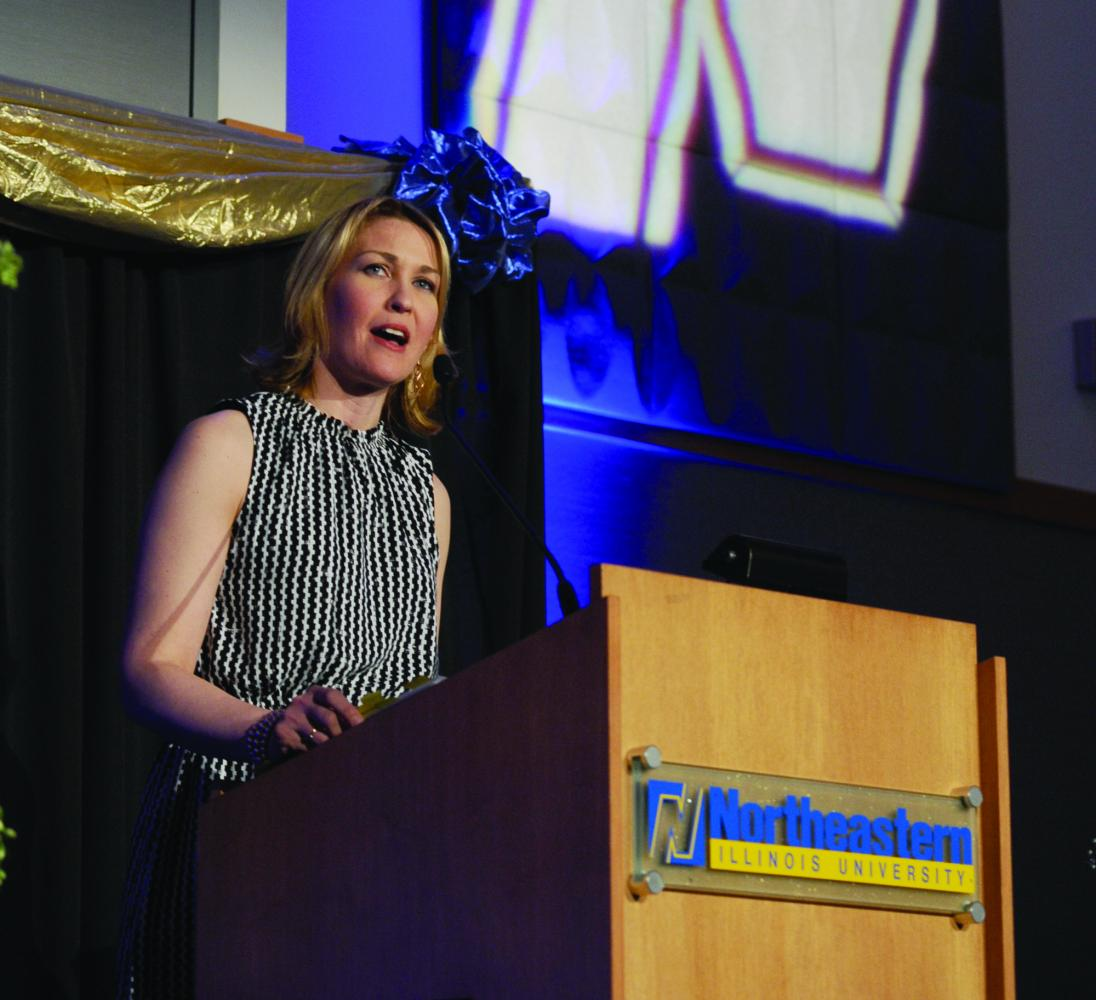 The Vice President for Institutional Advancement Liesl Downey spoke at the Transforming Lives launch fundraising campaign on Apr. 7.