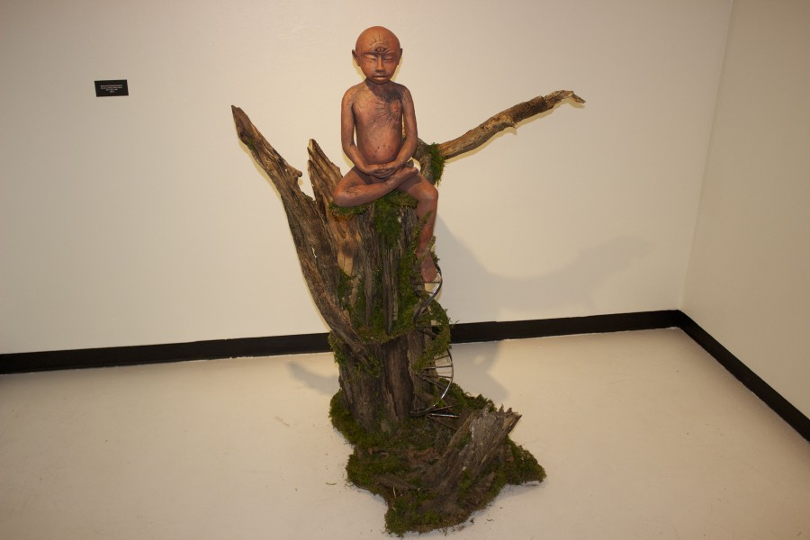 Universal Consciousness, ceramic, metal, wood, 2013