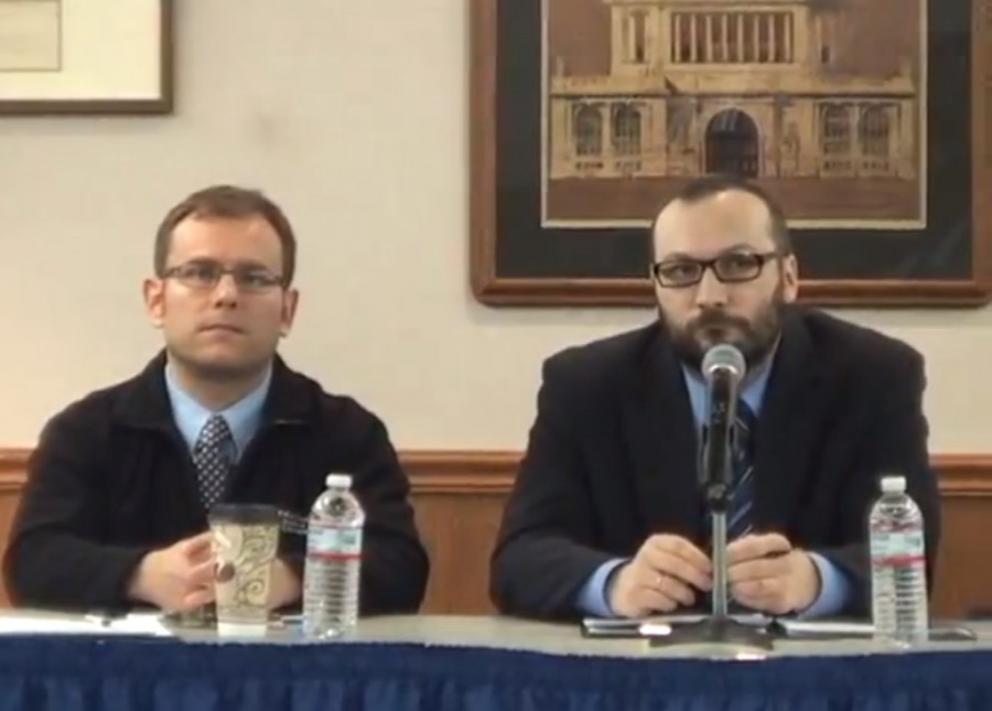 Dr. Tony Adams (left) and Wojciech Wloch (right) - Courtesy of NEIUlife's youtube video.