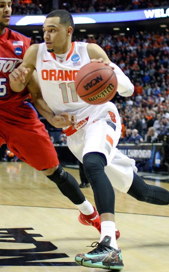 Potential Bulls draft pick, Tyler Ennis, penetrating against Dayton