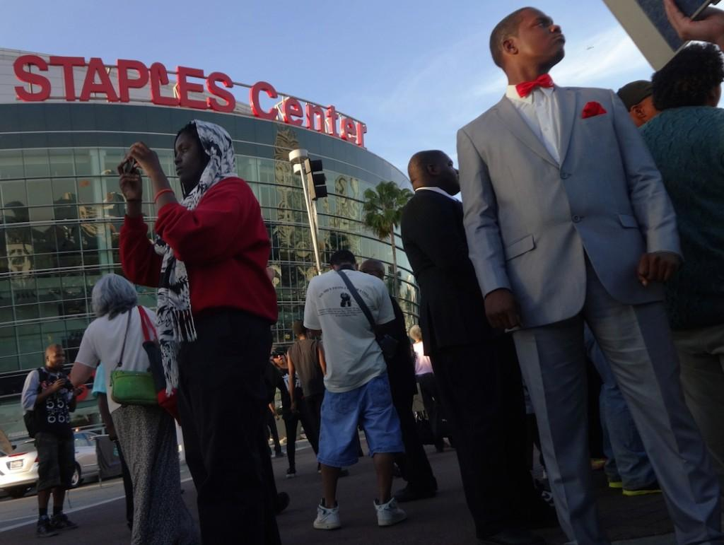 Protest outside the Staples Center brought on by Sterling's words