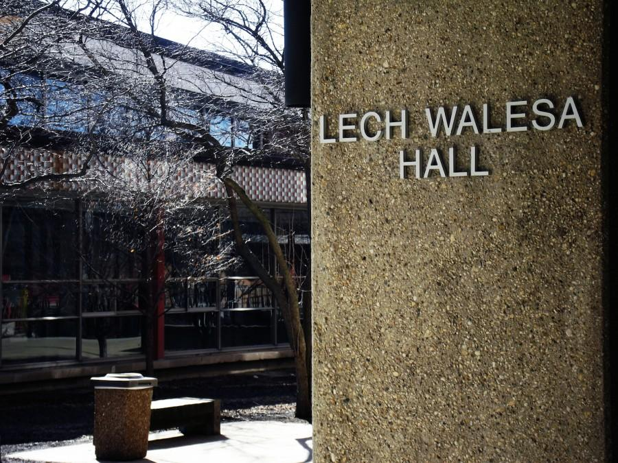 Lech Walesa Hall faces Bryn Mawr Ave, making it one of the more visible buildings on campus