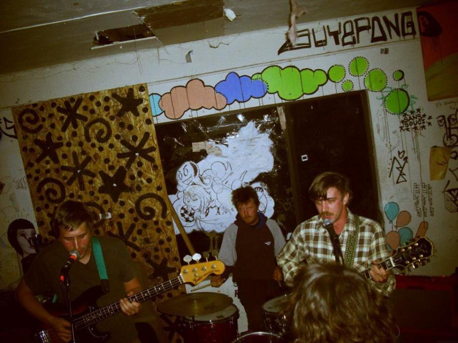 House Sounds performing in a DIY space. Feigle is on the drums.