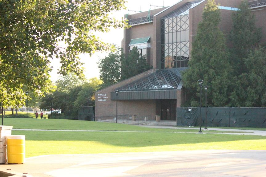 Though there is currently construction occurring at the Library, it is for roof repairs and not the current expansion.