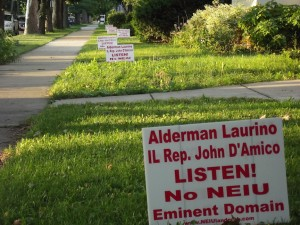 Local residents who aren't for NEIU's expansion into the neighborhood let their lawns do the talking.