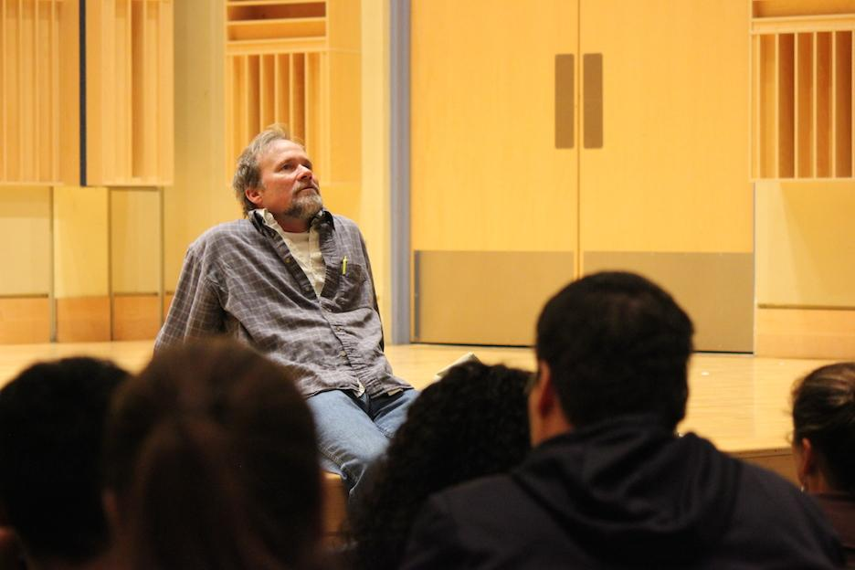 Brad Watson regaling students with tales of intrigue.