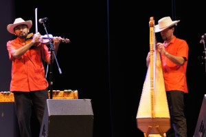 (Left to right) Juan Rivera and Zacbé Pichardo playing traditional Norte music which blends traditional Mexican music with European polka and classical influences.