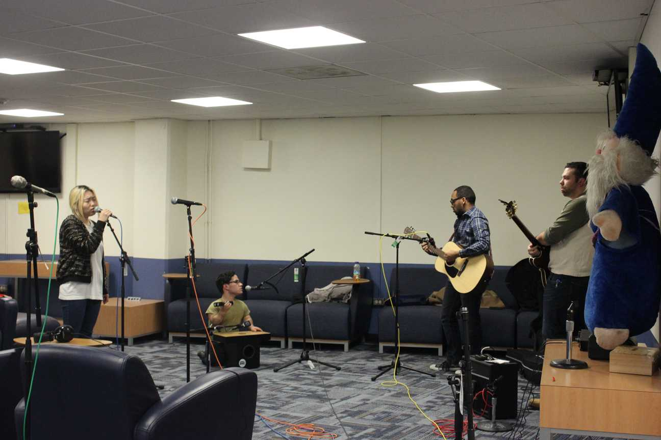 WZRD broadcasts Pharaon's performance in the student lounge.