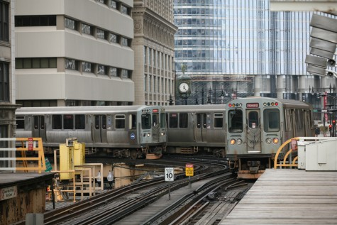 Rerouted Chicago Red-Line trains lurking between the Randolph/ Wabash and State/Lake stops in the Loop.