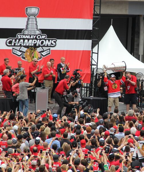 Patrick Kane hoists Stanley Cup at the Blackhawks' Championship Rally this past June
