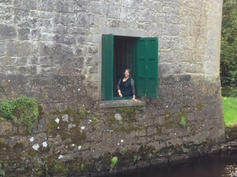 Kathy Cowan sits inside Yeats' Tower.