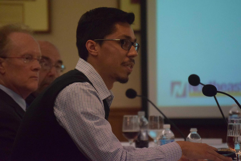 Student Trustee Pedro Nungaray speaks to the finance committee.