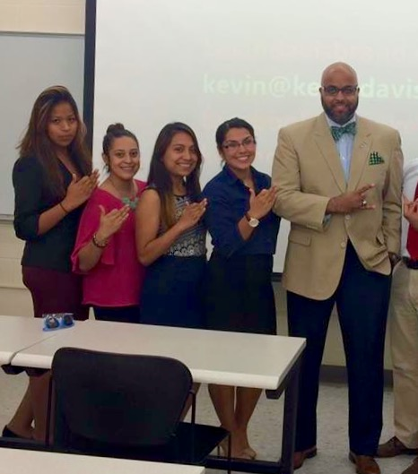 The ladies of Gamma Phi Omega: Jannedh Lema, Frances Dominguez, Yadira Alonzo and Brenda Bedolla at a personal branding workshop with presenter Kevin Davis.