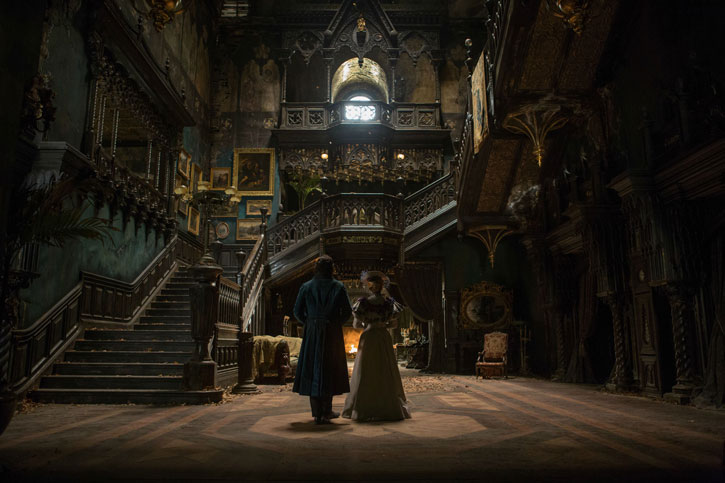 Thomas Sharpe and Edith Cushing step into Allerdale Hall, a massive three story set with a working elevator.