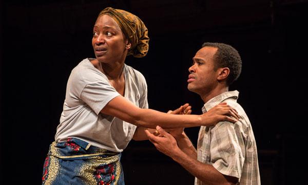 Luopu [Lily Mojekwu] says goodbye goodbye to her son Shedrick [Charles Gardner.]