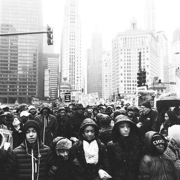 Children lead the rally on Nov. 27.