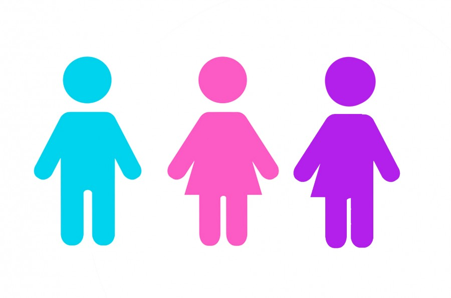 The blue and pink figures depict what society has deemed as man and woman. The purple figure: a woman and man which represent an intersex individual.