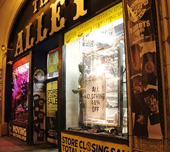 The Alley, a store specializing in alternative wears, is set to close on Jan. 19 in light of a massive construction project and higher taxes./Photo by: Mary Kroeck
