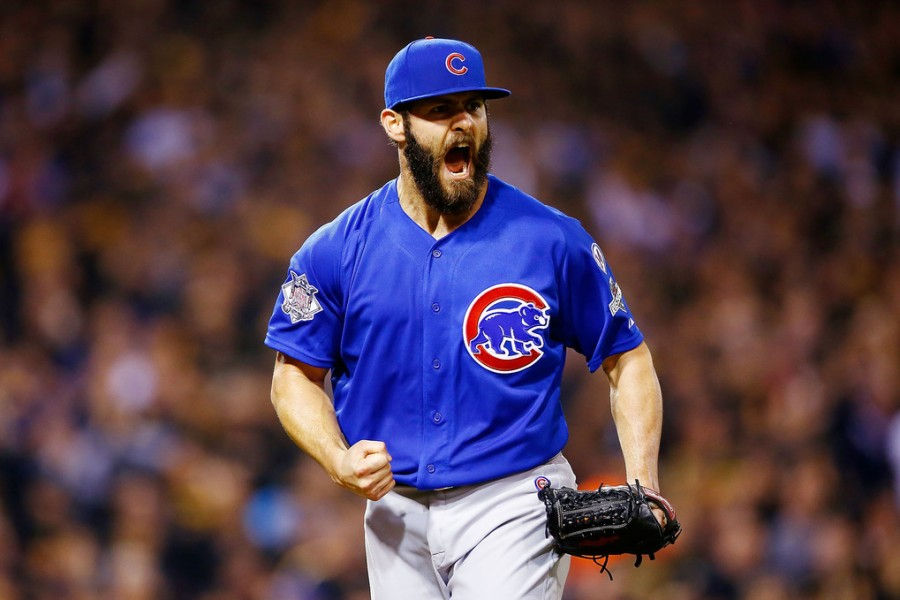 PITTSBURGH, PA - OCTOBER 07:  Jake Arrieta #49 of the Chicago Cubs reacts after a double play to end the sixth inning with the bases loaded during the National League Wild Card game against the Pittsburgh Pirates at PNC Park on October 7, 2015 in Pittsburgh, Pennsylvania.  (Photo by Jared Wickerham/Getty Images)