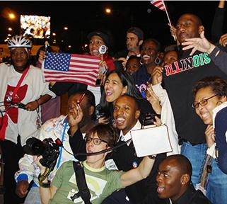 A crowd of people celebrate the election of Pres. Barack Obama in Grant Park on Nov. 4, 2008./Photo by Mary Kroeck