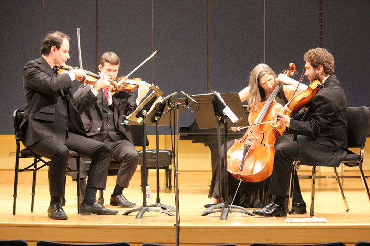 The Kontras String Quartet performing.