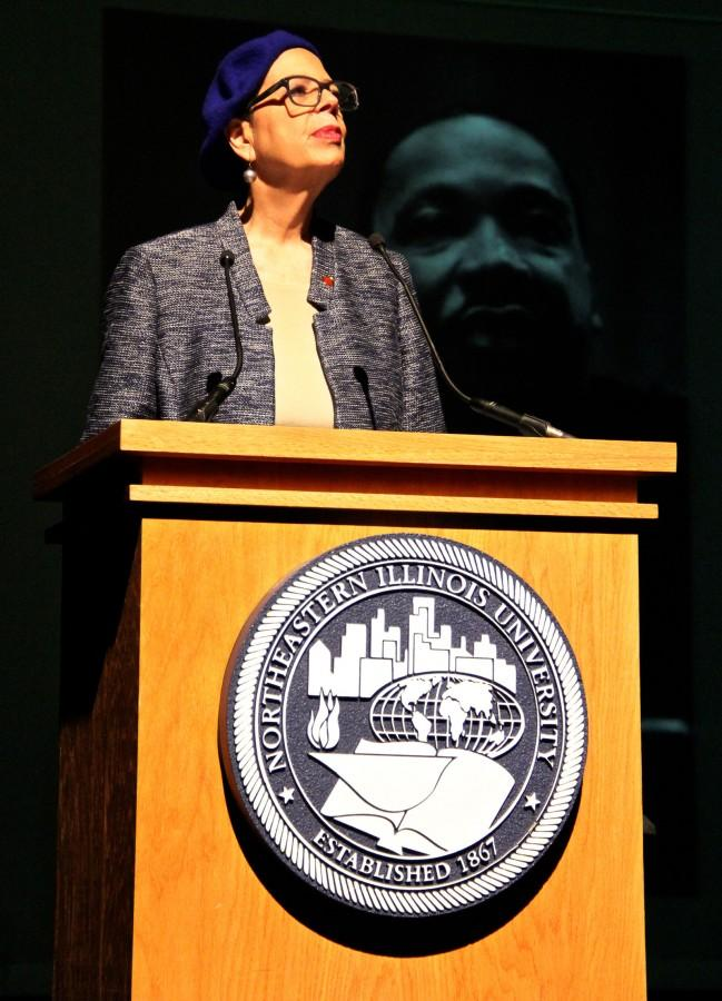 Karen+Lewis%2C+president+of+the+Chicago+Teacher%27s+Union+and+NEIU+alumna%2C+spoke+about+the+vision+of+Dr.+Martin+Luther+King%2C+Jr.+and+the+meaning+of+social+justice.+