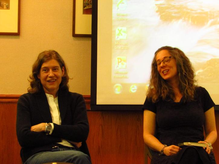 Pasulka (left) laughs at Levine's (right)  answer to a question.