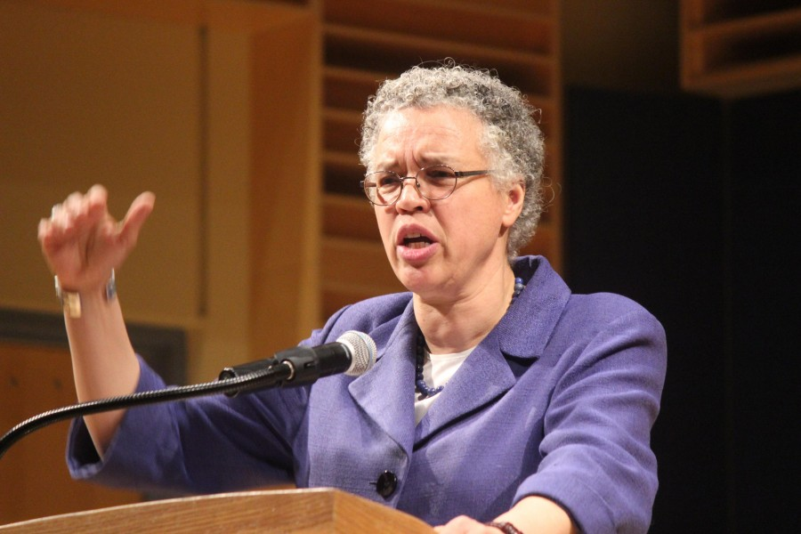 Toni+Preckwinkle+takes+a+strong+opposition+towards+police+brutality+and+the+criminalization+of+black+and+brown+communities.+