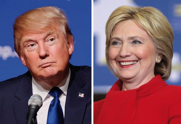 Donald+Trump+%28left%29+and+Hillary+Clinton+%28right%29+will+go+head-to-head+in+November+for+presidency.+