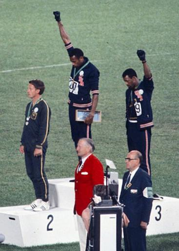 American sprinters Tommie Smith, John Carlos and Peter Norman.