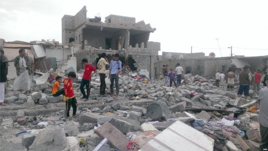 The aftermath of an airstrike carried out by Saudi Arabia in Yemen's capital of Sana'a.