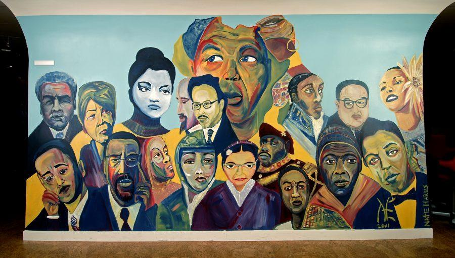 The mural from the Pedroso Center depicts a variety of diverse, great minds.
