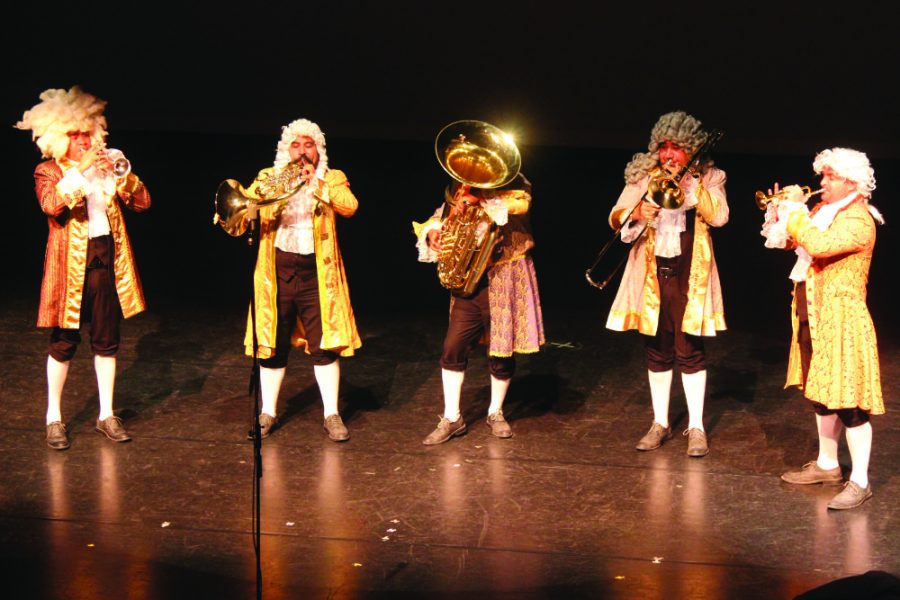 M5 Mexican Brass played for the NEIU community on March 10, helping the audience discover the comedic side of music.
