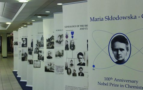 """A photo exhibit during the Women in Science Conference on Sept. 18 and 19. Guests speakers like Aleksandra Jarczewska presented a discussion on Marie Curie."""