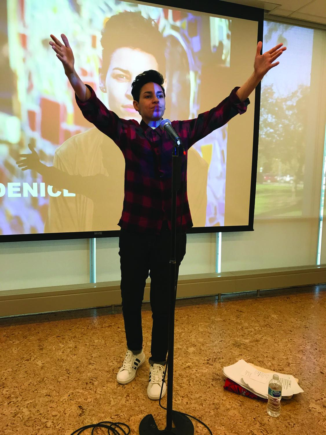 Some of Denice Frohman's poems can be found on her website, denicefrohman.com. She is currently performing on several other campuses. She is scheduled to appear at Western Washington University in Bellingham, WA on Nov. 2.