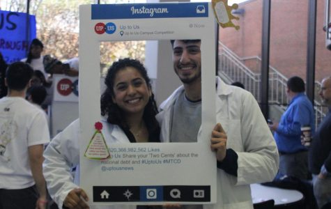 """Two biology students, Morelia Diaz and Noor Sadaqa who attended the chocolate eating contest."""