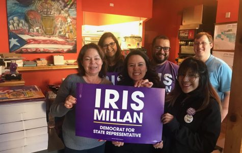 (front) Iris Millan and Esther Mendez. (Back) Veronica Ramirez, Carlos Diaz and Ross Clymer all pose in Millan's campaign office.