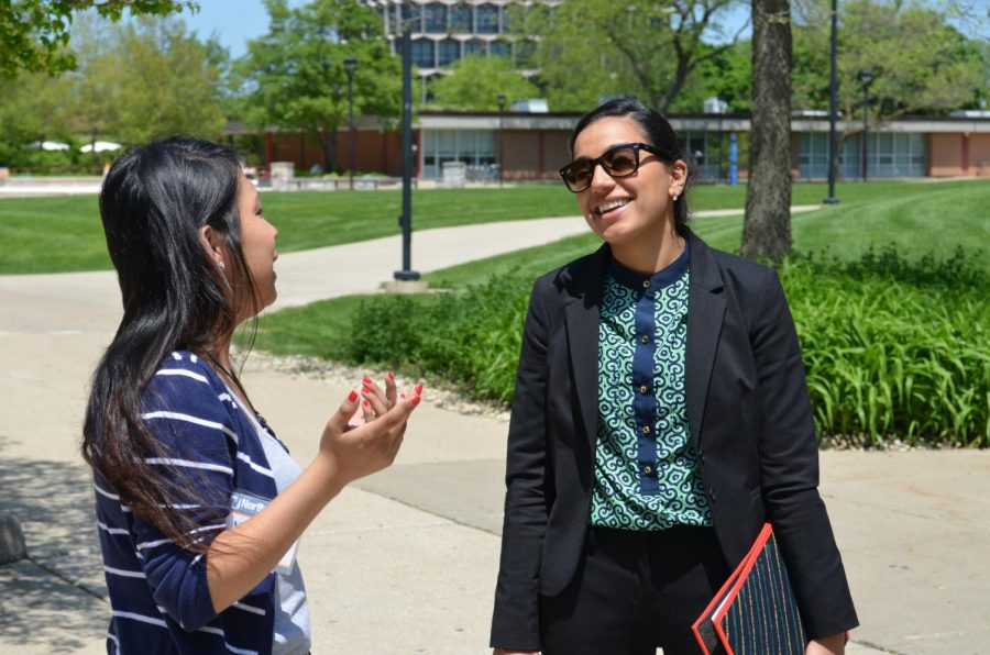 Naseeb Bhangal on a campus tour with Student Ambassador Yadira Alonzo on May 24.
