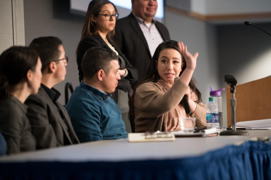 NEIU student Melanny Buitron speaks to fellow panelists about her journey being a DACAmented student.