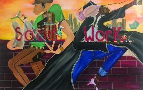 Social work mural located in front of 3077 in Lech Walesa Hall |