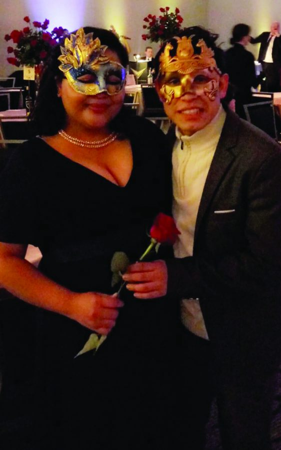 Francisco Sebastian and his partner at the masquerade themed Golden Gala and Alumni Awards Dinner on Oct 12.| Photo by Kristopher Gibson