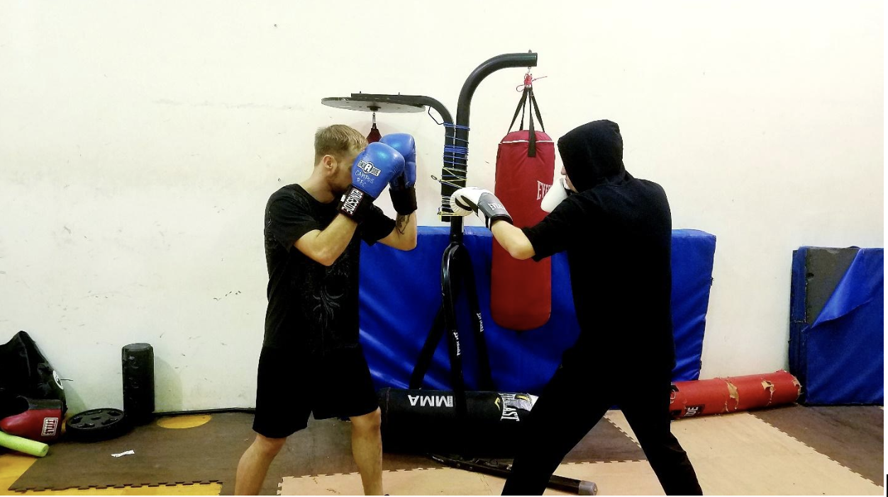 Phillip Noffz and Matthew Scanlan sparring at boxing club| Photo by Rachel Willard