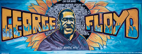 Photo of the George Floyd mural taken by photographer Shaull, L.