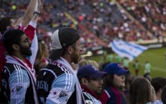 Fans support Chicago Fire FC at SeatGeek Park in Bridgeview, Illinois, during a 2016 MLS Season match. The Fire was expected to move in 2020 to Soldier Field, in downtown Chicago, but the plan was postponed due to the COVID-19 pandemic.(The Independent/ Erwin Lopez Rada).