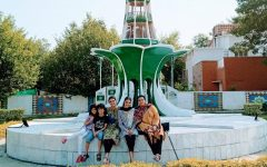 Early morning escapades in front of miniature Minar-e-Pakistan, Mianwali. From left to right Fatima, Rafay,Eiman,Amail and Anusha (me).