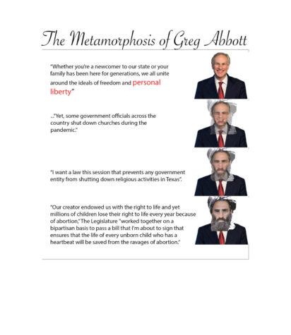 Commentary on political image. The metamorphosis of Greg Abbott